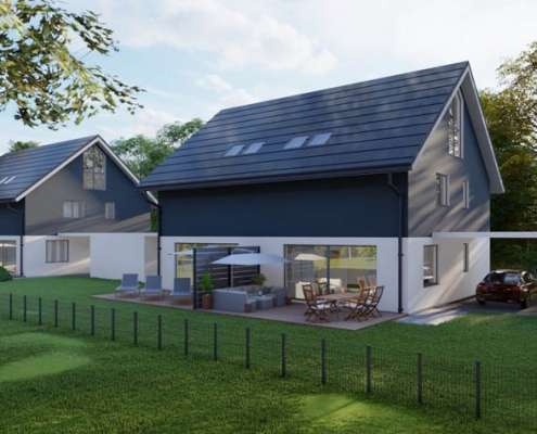 Doppelhaushälfte in Berg am Starnberger See, Gartenansicht